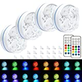 Led Pool Lights, HOMLY Pool Lights For Above Ground Pools, Waterproof Inground Pool Light With Suction Cups, Magnetic Pool Light, Color Changing Swimming Pool Lights Underwater Light Pond Light 4 Sets