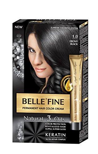 BELLE'FINE® - Coloration crème pour cheveux Black Series - luxueux - coloration naturelle/permanente - 3 huiles/kératine - NOIR ÉBÈNE