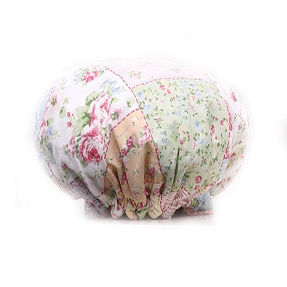 プラグ内部明示的にCQIANG シャワーキャップ厚い布二重層女性大人防水入浴キャップシャンプーキャップキッチン防煙シャワーキャップ (Color : 8)