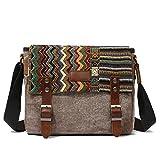 Canvas Messenger Bag for Women,Uarzt Vintage Shoulder Bag School College Satchel, fits Ipad,...