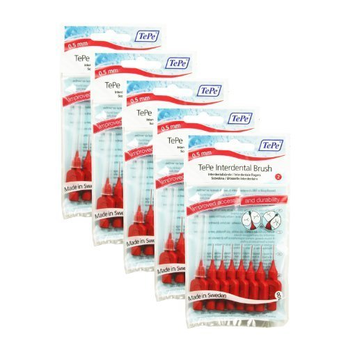TePe Interdental Brushes 0.5mm Red - 5 Packets of 8 (40 Brushes) by Tepe