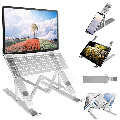 2020 Laptop Stand, 7-Angles Adjustable Computer Tablet Stand, Portable Laptop Riser Foldable Notebook Stand Non-Slip Ventilated Cooling Desktop Holder Compatible with MacBook iPad Mobile Phone