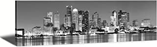 JiazuGo Black & White Panoramic Boston Skyline Modern Art Work Cityscape Pictures Paintings on Canvas Wall Art Wall Pictures for Bedroom Art Home Decorations Office Decor Ready to Hang 14