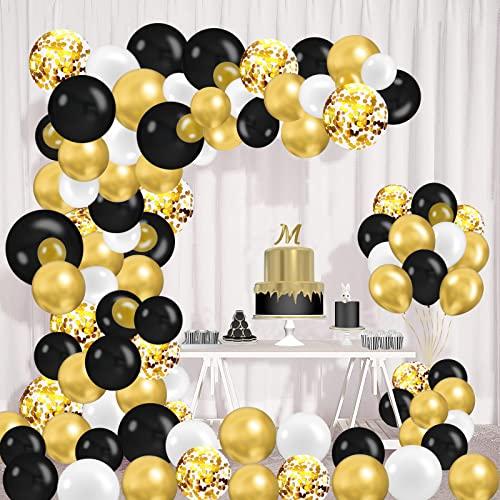 125 Pezzi Palloncini Kit Ghirlanda Oro e Nero Confetti Palloncini Lattice, Oro Neri Palloncini Compleanno per Anniversario, Matrimonio, Halloween, Pensionamento, Decorazione Compleanno per Feste