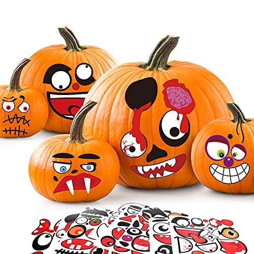 FilmHoo 32PCS Halloween Pumpkin Decorations Craft Stickers Adhesive Face Stickers for Pumpkin Decor Jack O Lantern Stickers for Kids Halloween Party Favors Classroom Party Game