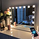 FENCHILIN Hollywood - Espejo cosmético con luces LED, altavoz Bluetooth y puerto USB, lupa de 10 aumentos, espejo táctil, maquillaje, 15 espejos de luz LED, montaje en pared
