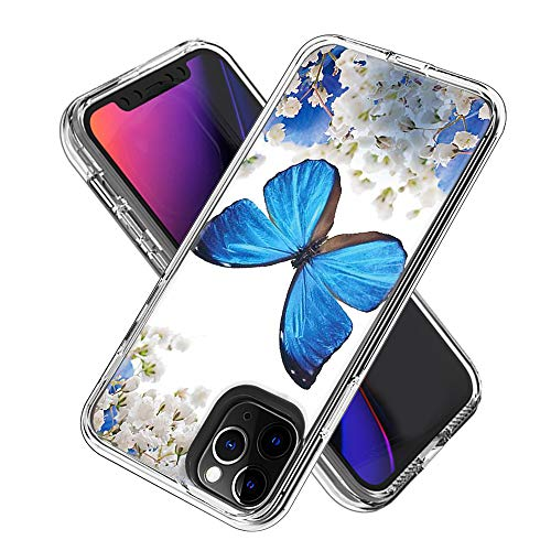 Phone Case for iPhone 11 Pro (5.8inch) Shockproof Hard Plastic Back + TPU Soft Bumper Protective, Cover with Kawaii Cartoon Card Phone Case (Blue Butterfly)