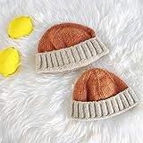 geiqianjiumai Eltern-Kind-Mütze im Freien Freizeit warme Strickmütze Farbabstimmung einfache Manschette Melonenfell Linie Besitzer Hut Orange + Beige S (54-56cm)