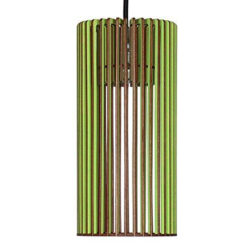 Suspension Cilindro en bois – Plafonnier design moderne – 8 couleurs disponibles -, vert pomme, E14 60.0 wattsW