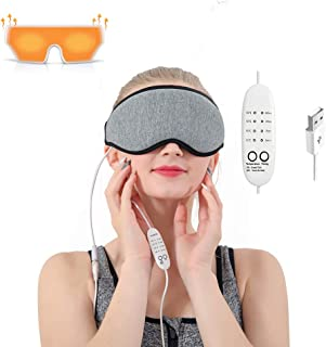 Eye Massager Heated Eye Mask for Dry Eyes,Warm Compress for Eyes with Relieve Puffy Eyes,Dark Cycles,Tired Eyes Portable USB with Time&Temp Control Warming Eye Massage Washable Gift for Women and Men