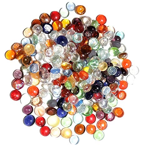 WeJe Mancala Stones Mini Glass Gems (12-16mm) - 12oz (140 to 150 pcs) Flat Glass Marbles with Velvet Bag for Mancala Beads Replacement (Mini Multi-Colors Assorted)
