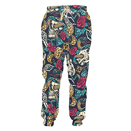 Hip Hop Style Mens Pants Snake 3D Snake and Skull Print Casual Suelte Swears Pendientes Divertidos Unisex Snake and Skull XL