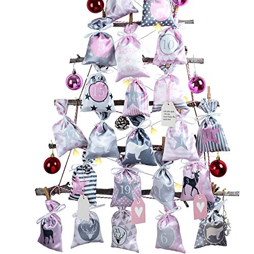 Adventskalender zum Befüllen Groß (12x20cm), 24 Stoffbeutel Kette zum selber Basteln und Aufhängen, 2020 Weihnachtskalender zum selberfüllen mit Rosa Grau Stoff Säckchen für Kinder Mädchen Frauen
