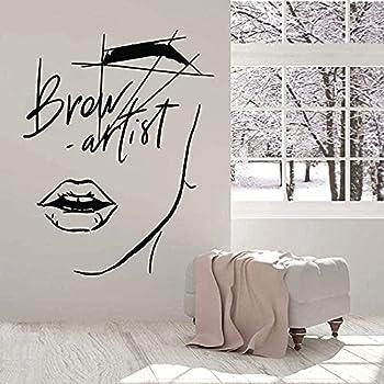 LORBAY Pretty Wall Stickers Interior Decoration Art Mural Beauty Abstract Girl Face Entrance Brow Window Sticker Eyebrow Tattoo Beauty Salon Wallpaper 42x32cm