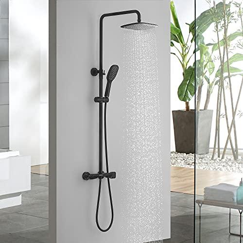 Lonheo Duschsystem mit Thermostat Mischbatterie, Duscharmatur Thermostat mit 10 Zoll Regendusche und Duschkopf, schwarz