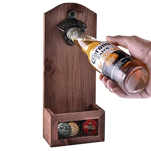 Siveit Wooden Bottle Opener with Cap Collector Catcher, Vintage Wood Wall Mounted Beer Bottle Opener, Ideal Gift for Men and Beer Lovers, Bar Decoration Opener