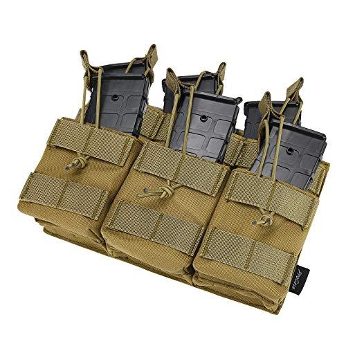 Procase Bolsa de Cartucho Táctica, Cartuchera con Correa Elástica para Cargador Munición de AK AR M4 M16 -Caqui