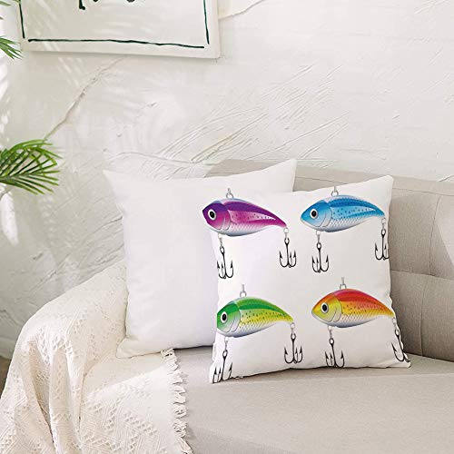 Cushion Covers 20x 20 inch Soft Polyester,Fishing Decor,Collection of Fishing Lures in Trout Shape Trap for Sea Mammals C,Square Throw Pillow Case for Living Room Sofa Couch Bed Pillowcases 50 x 50 cm