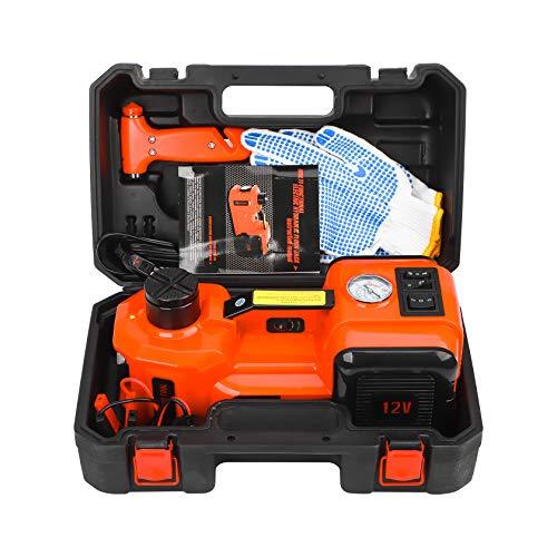 CarBole Gato hidráulico eléctrico, 5T, 12 V, rango de elevación de 15,5 – 45 cm, gato hidráulico eléctrico, para cambio de neumáticos SUV