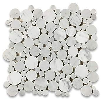 Stone Center Online Carrara White Marble Bubble Round Paramount Mosaic Tile Polished for Kitchen Backsplash Bathroom Flooring Shower Surround Dining Room Entryway Corrido Spa  1 Sheet