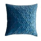 Black Velvet Studio Funda cojín Triangle 100% poliéster, Color Azul Plomo. Terciopelo Liso 45x45 cm.