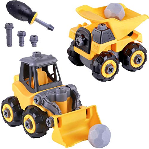 Izzya Construction Truck Toys, Take Apart Sandbox Vehicle Playset, Assembly Bulldozer, Dump Truck, W/Screwdriver, Building Gift for Children