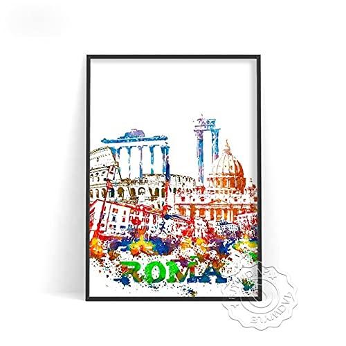 linbindeshoop Color World City Poster York Paris Moscow Wall Art Dubai Roma Wall Stickers San Francisco Rio De Janeiro Travel Poster(LT-387) 50x70cm No frame