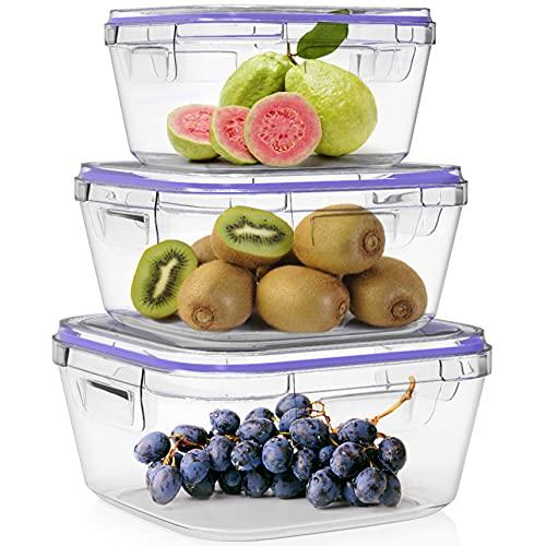 Home Fleek - Contenitori per Alimenti in Vetro | 3 contenitori + 3 coperchi | Ermetico | Senza BPA (Set 3, Blu Quadrato)