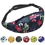 Sports Hiking Running Belt Waist Bag,Fashion Travel Fanny Bag Super Lightweight For Travel Waist Pack (WILD FLOWERS)