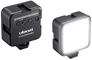 Ulanzi 49LEDビデオライト 黒 2000mAh USB充電式 ソフト光 超高輝度 コールドシューマウント付きカメラライト iPhone Samsung Canon Nikon Sony Zhiyun Smooth 4 DJI OSMO...