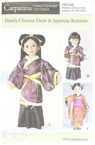 "Pattern for Hanfu & Kimono - fits 18"" American Girl Dolls"