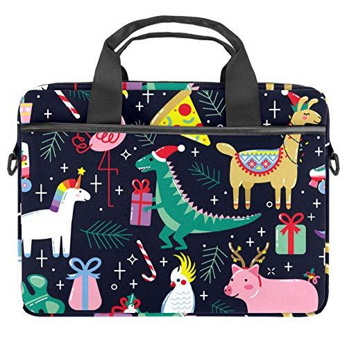 Cartoon Happy Christmas Animals Laptop Case Canvas Pattern Briefcase Sleeve Laptop Shoulder Messenger Bag Case Sleeve for 13.4-14.5 inch Apple MacBook Laptop Briefcase