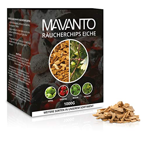 MAVANTO® XXL Profi Räucherchips für das perfekte Raucharoma - rauchintensive Holzchips aus den USA in 5 verschiedenen Sorten (1kg Eiche)