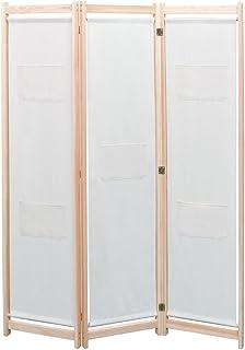 vidaXL Bois de Pin Massif Cloison de Séparation 120x170x4 cm Crème 3 Panneaux