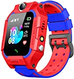 Sanyipace Q19 Waterproof SOS Call Support SIM Cart Positioning Motion Tracker Baby Dual Camera Voice Monitoring SOS Call Anti-Lost LBS Positioning Smartwatch Bracelet for Kids, Children (Red)