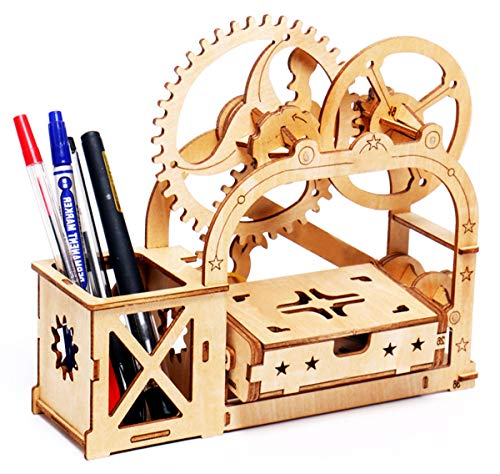 VARBERTOS 3D Wooden Puzzle Box Business Mechanical Gears Engineering Decorative Desktop Brain Teaser Puzzles Cool Office Games for Desk Gadgets Unusual Gifts for Adults and Teens