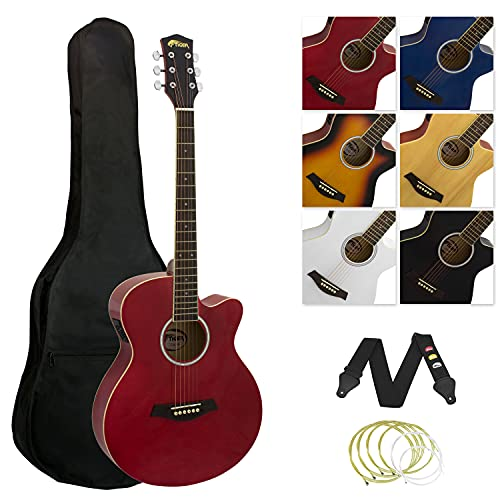 Tiger Student Electro Acoustic Full Size Guitar with, Built In EQ, Gig Bag, Strap, Spare Strings & Picks – Red