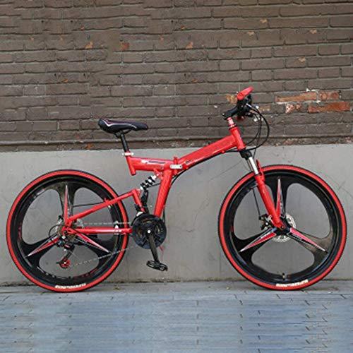 """YUHT Mountainbike,24/26"""" 21-Gang Falträder Leichtes Aluminium Vollgefedertes Mountainbike Herren Mountainbiken faltbares rotes Fahrrad mit Scheibenbremsen"""