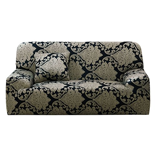 uxcell Stretch Sofa Cover Printed Couch Covers for 1 2 3 4 Cushion Couch Slipcovers for Sofas Loveseat Armchair Elastic Furniture Protector with One Free Pillowcase Medium