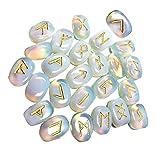 Healing Crystal - Juego de 25 piedras de opalita, reiki, con letras en alfabeto rúnico