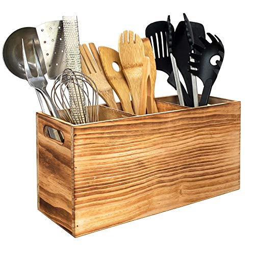 Utensil Holder in Rustic Wood for Farmhouse Kitchen Decor, Countertop Organizer and Cooking Tools Storage (Triple)