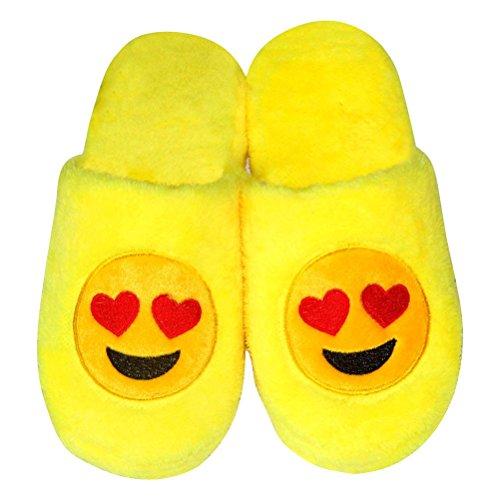 LUOEM Zapatillas de Estar por Casa Zapatillas Peluche Algodón Cómodas Pantuflas Invierno Antideslizante (Amarilla Divertida Cara Sonriente Corazón) Size 38-39