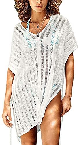 copricostume donna uv Xinlong Copricostumi da Bagno Donna Copricostume Irregolare in Pizzo Maglieria Bikini Cover Up Tinta Unita Sexy Vestiti da Mare Spiaggia (74-Bianca)
