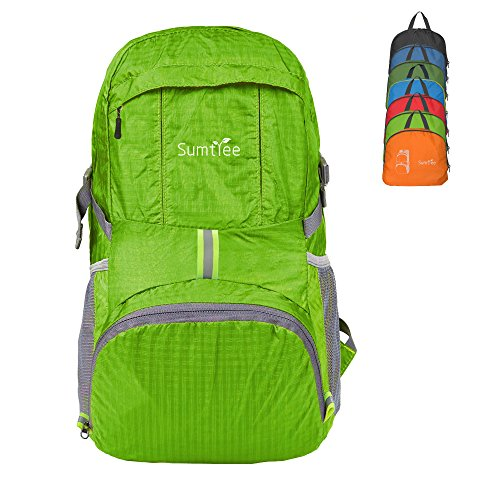 Sumtree 35L Ultra Lightweight Foldable Packable Backpack, Men and Women Durable Light Hiking Cycling Sports Travel Daypack, Water Resistant (Light Green)
