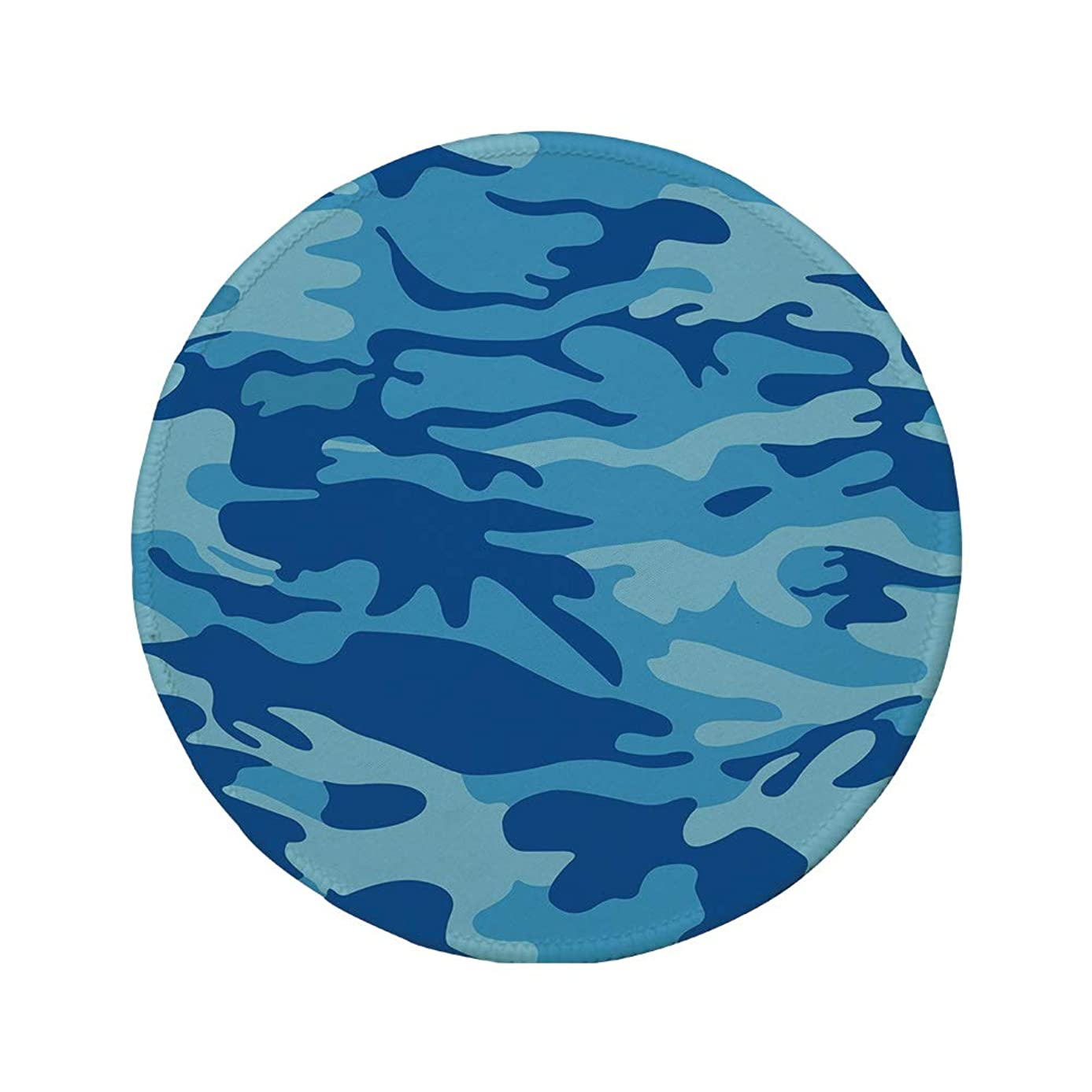 Non-Slip Rubber Round Mouse Pad,Camouflage,Abstract Camo Navy Military Costume Concealment from The Enemy Hiding,Pale Blue Navy Blue,11.8
