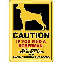 CAUTION IF YOU FIND マグネットサイン:ドーベルマン/垂れ耳(レギュラー)イエロー 注意 DON'T TOUCH 触れない/触らない KEEP GATE CLOSED ドアを閉める 英語 防犯 アメリカンマグネットステッカー