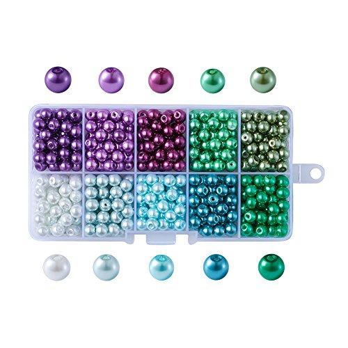 Cheriswelry 500 cuentas de perlas de cristal de 6 mm, color azul, verde, morado, 10 colores surtidos, redondas, perladas, espaciadores sueltos para bodas, joyas, pendientes, manualidades