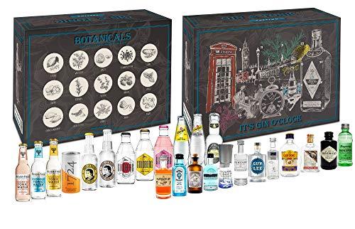 Gin Tonic Tasting Set Geschenkbox Probierset - 12x Gin Sorten + 12x Tonic Sorten + Mixcompany Tasting Box - Ideales Weihnachtsgeschenk