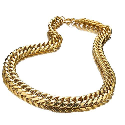 Gotisches Armband Riesige schwere 19mm Herren Dicke Gold Farbe Edelstahl Männlich Kubanische Gliederketten Halsketten/Armband Für Männer Hip Hop Schmuck-24 Zoll