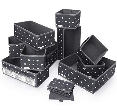 ilauke 12 Stück Aufbewahrungsboxen Stoff | Aufbewahrungsbox Organizer | Organizer Schublade | Aufbewahrungsboxen Klein | Storage Boxes Ordnungssystem für Clothes Faltbar Unterwäsche Socken
